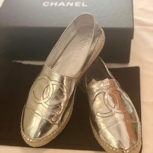 Chanel Silver Espadrilles size 38/ Womens 8